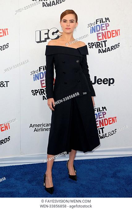 33rd Annual Film Independent Spirit Awards at Santa Monica Pier - Arrivals Featuring: Zoey Deutch Where: Santa Monica, California