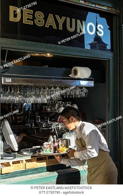 "A Desayunos """"breakfasts"""" and Tapas bar in the Plaza Mayor in the centre of Madrid, Spain"
