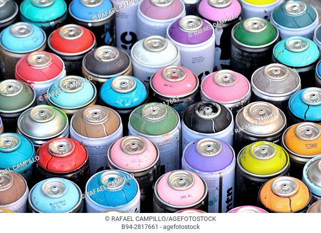 Aerosol spray cans. Paint sprays. Barcelona, Catalonia, Spain