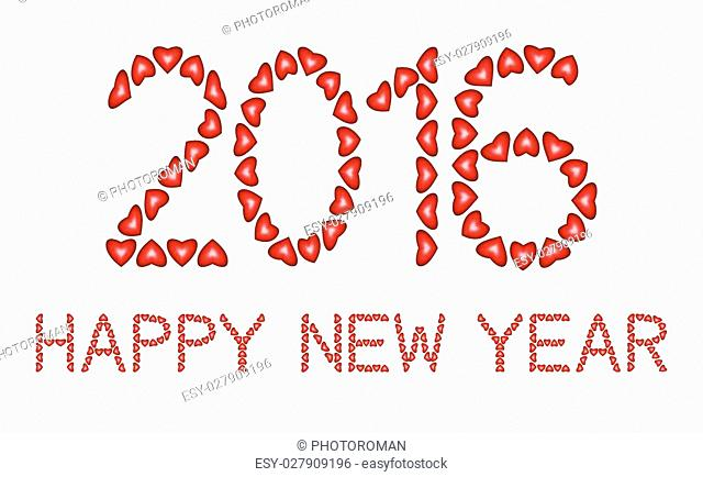 Happy New Year 2016 made from hearts on white background