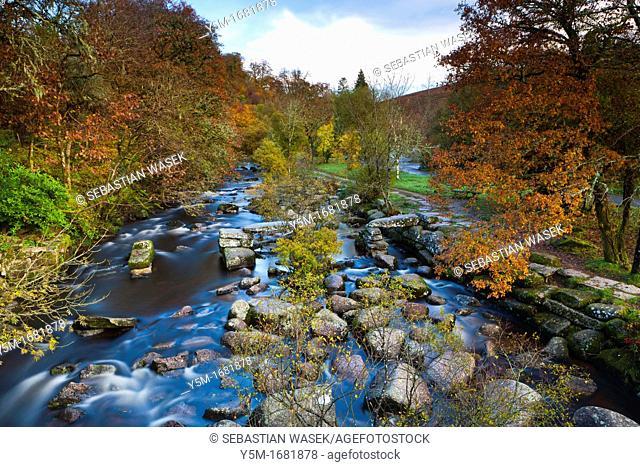 River Dart in autumn, Dartmoor National Park, Devon, South West England, Europe