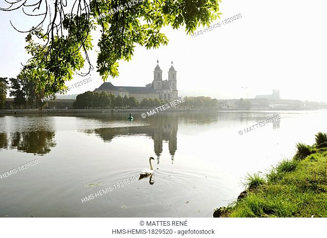 France, Meurthe et Moselle, Pont a Mousson, Abbaye des Premontes on Moselle river banks