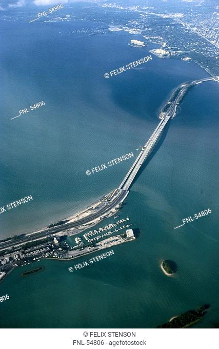 Aerial view of bridge across bay, Rickenbacker Causeway, Biscayne Bay, Miami, Florida, USA