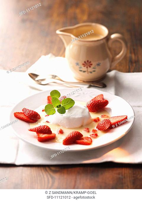 Floating island with strawberries