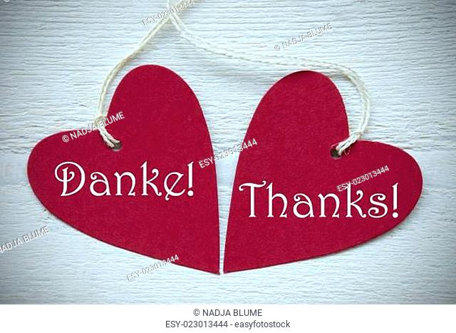 Two Red Hearts Label With Thank You In English And German