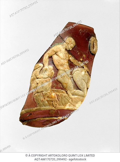 Glass cameo cup fragment, Early Imperial, Julio-Claudian, 1st half of 1st century A.D., Roman, Glass; cast and cased; carved and ground