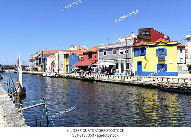water channel with boats in Aveiro, Beiras region, Portugal
