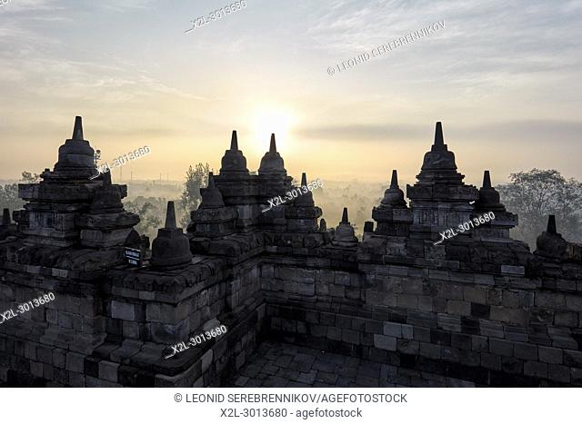 Borobudur Buddhist Temple at sunrise. Magelang Regency, Java, Indonesia
