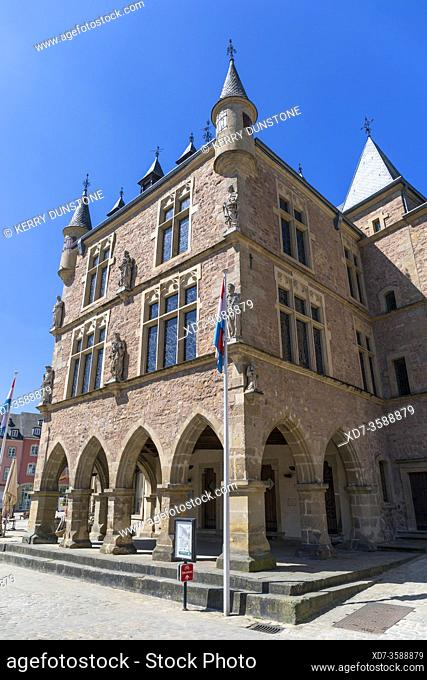 Europe, Luxembourg, Echternach, Denzelt or Dingstuhl (Gothic Courthouse Building) on the corner of Place du Marche