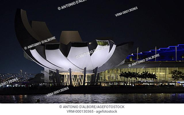 Night view of ArtScience Museum. Singapore