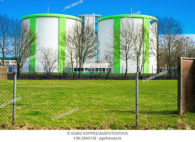 Rotterdam, Netherlands. Tanks and Terrain of the local Evides clean water company
