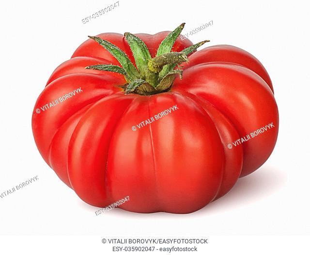 Fresh heirloom tomato isolated on white background