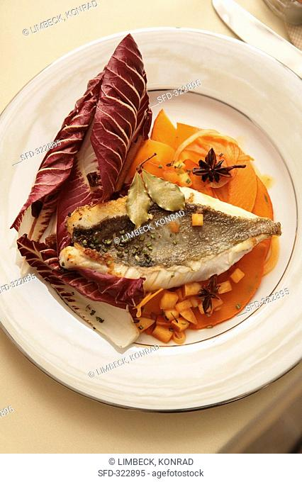Fried fish with pumpkin and radicchio