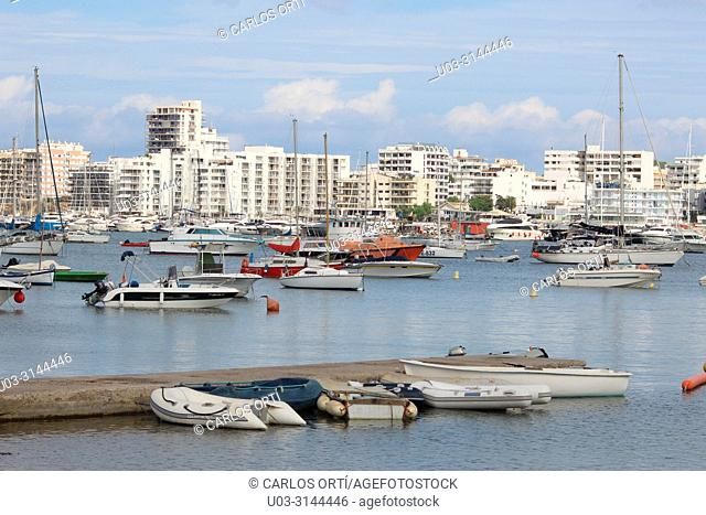 Partial view of the town of Sant Antoni de Portmany, in the Balearic island of Ibiza, Spain, Europe