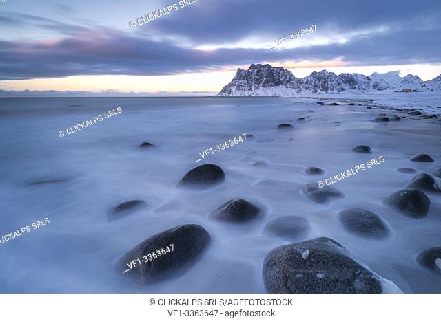 Uttakleiv beach covered with snow, Vestvagoy, Nordland, Lofoten Islands, Norway