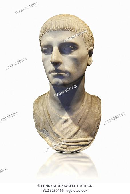 Roman portrait bust of a young man from the rule of Trajan 98-117 AD. This bust of a man presents a hairstyle with long curls that are closely cut to the head...