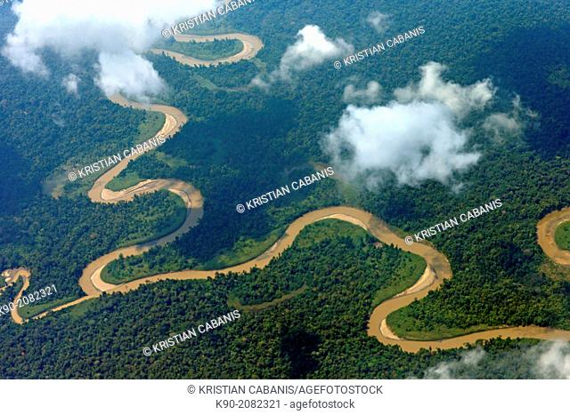 Aerial view of the thick rainforest with river, Papua, Indonesia, Southeast Asia