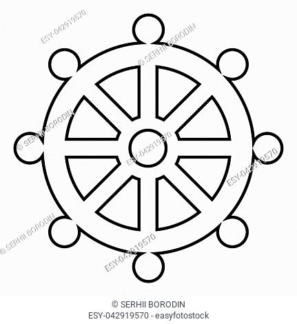 Symbol budhism wheel law religious sign icon black color vector illustration flat style simple image