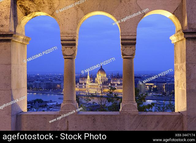 Hungarian Parliament seen from Fisherman's Bastion, Budapest, Hungary