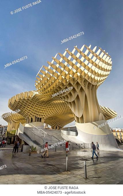 Spain, Andalucia Region, Sevilla City, Encarnacion Square, Metropol Parasol known as Las Setas