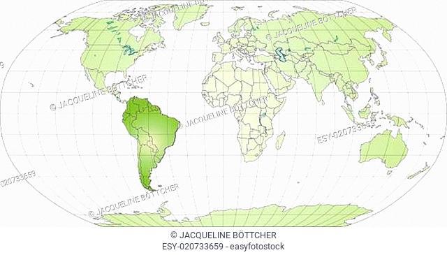 Karte von Suedamerika mit Grenzen in Grün