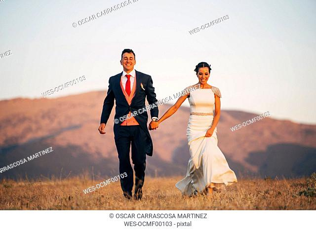 Happy bride and groom walking in mountains
