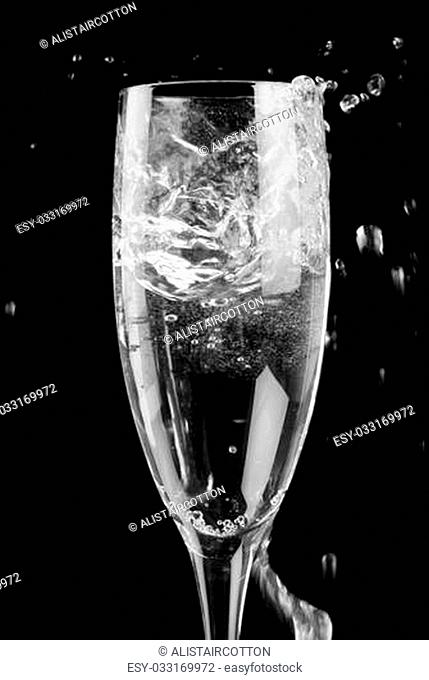Single champagne flute filled with sparkling wine on black background