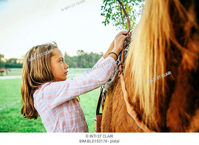 Caucasian girl fastening saddle on horse