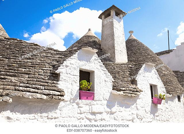 Alberobello, Puglia Region, South of Italy. Traditional roofs of the Trulli, original and old houses of this region