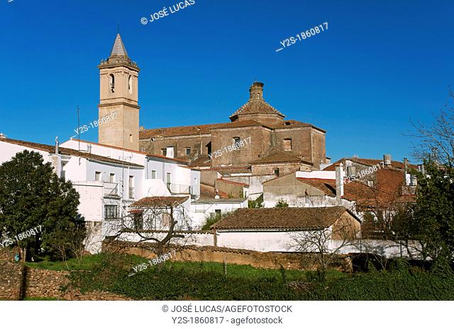 Urban view with church, Jabugo, Huelva-province, Spain