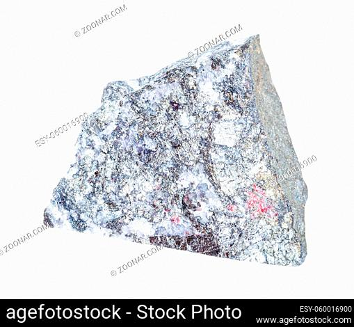 closeup of sample of natural mineral from geological collection - rough Stibnite (Antimonite) rock isolated on white background