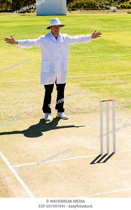 Cricket umpire signalling wide ball during match