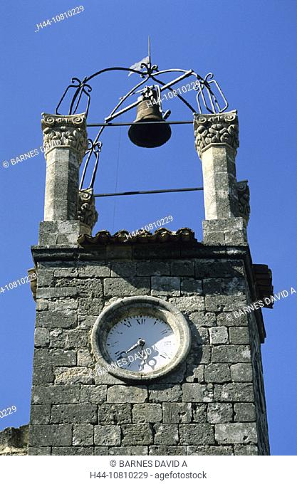 belfry, bell, bells, church, clock tower, France, Europe, Lacoste, Luberon, Provence, tower, Vaucluse, watch