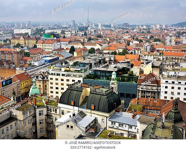 Zagreb from Zagreb Eye Building. Croatia. Europe