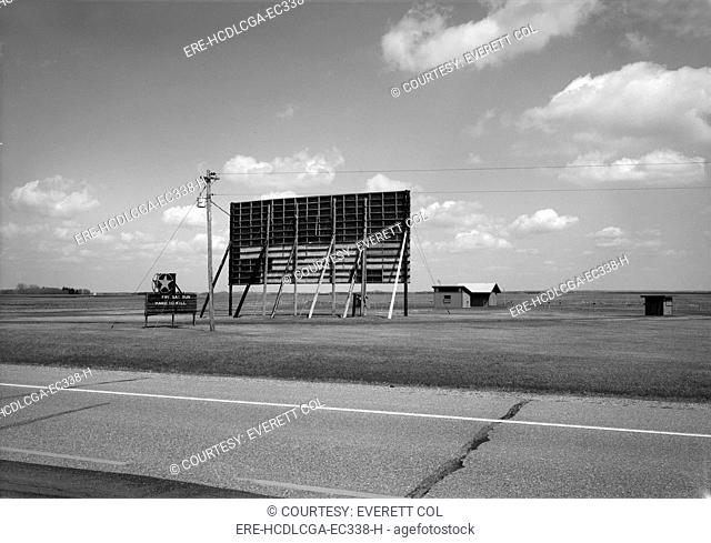 The Mahnomen City Drive-In Movie Theater, U.S. Highway 59, at Minnesota Highway 200, Mahnomen, Minnesota, circa 1960s