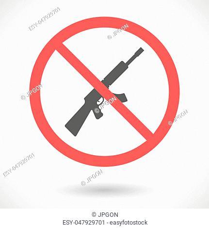 Illustration of a forbidden vector signal with a machine gun sign