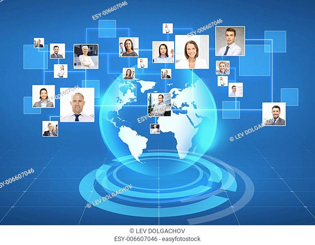 business, people, social network and head hunting concept - pictures of businesspeople over world map and blue background