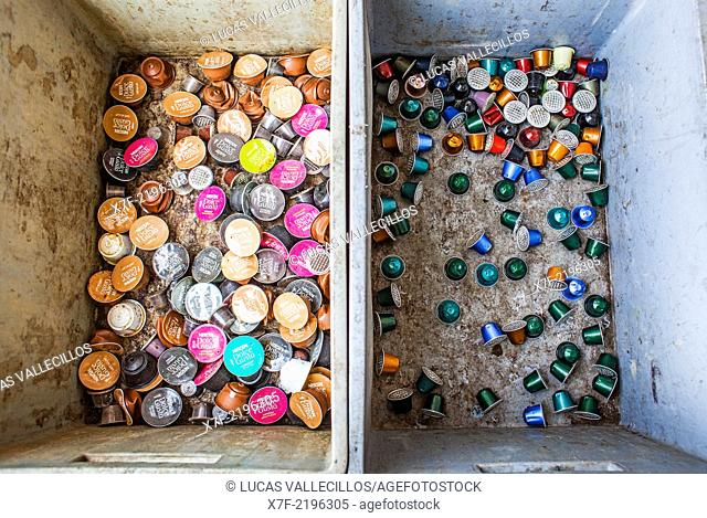 Coffee capsules storage to recycle, recycling center