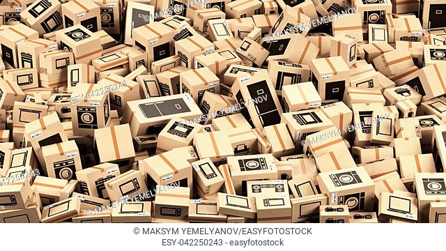 Background from cardboard boxes with household kitchen appliances and home technics. E-commerce, internet online shopping and delivery concept