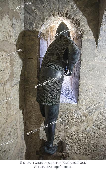 Archer figure within the Espolon Tower at Lorca Castle in Murcia Spain