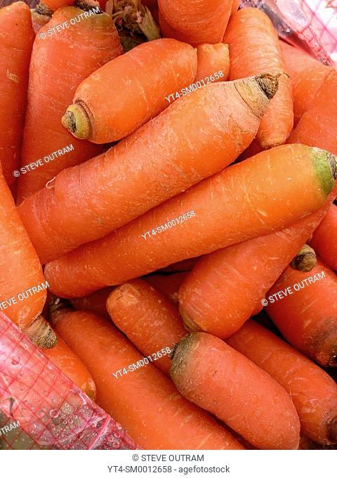 A Bag of Fresh Greek Carrots at a Greengrocers, Crete, Greece
