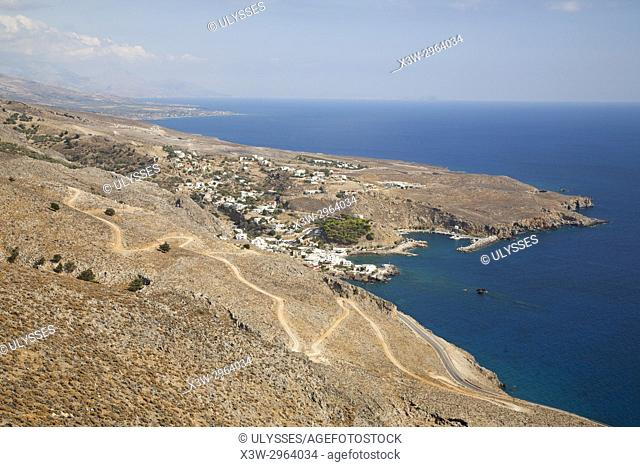 View with Sfakia village, Crete island, Greece, Europe