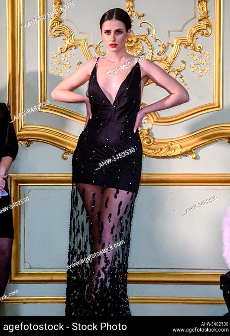 PARIS, FRANCE - FEBRUARY 26: A model walks the runway during the Romanian designers collective show wearing the designs of Mitiliane Couture as part of Paris...