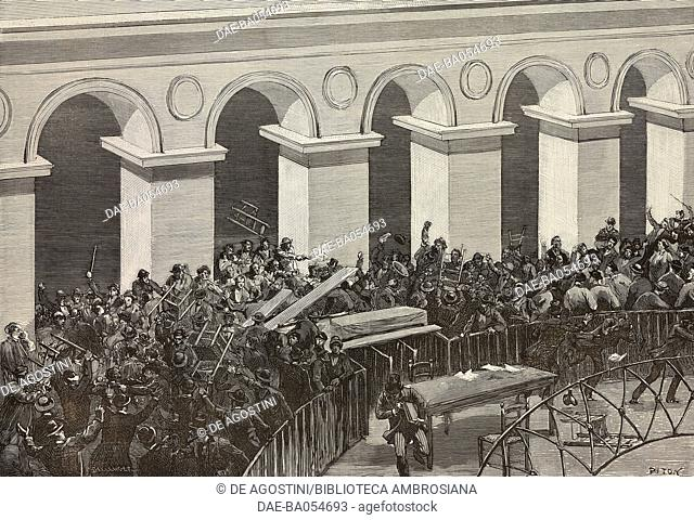 Rioting during the electoral meeting on September 20, 1885 in the Stock exchange building, Paris, France, illustration by Piton and Bellenger from...