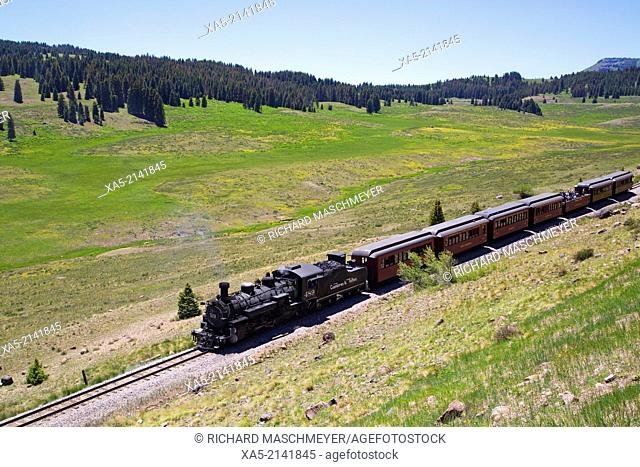 Cumbres & Toltec Scenic Railroad, National Historic Landmark, narrow guage, steam powered locomotive, #489, built in 1925, with tourist cars