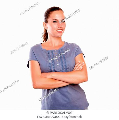 Portrait of a smiling adult woman looking and smiling at you on isolated background