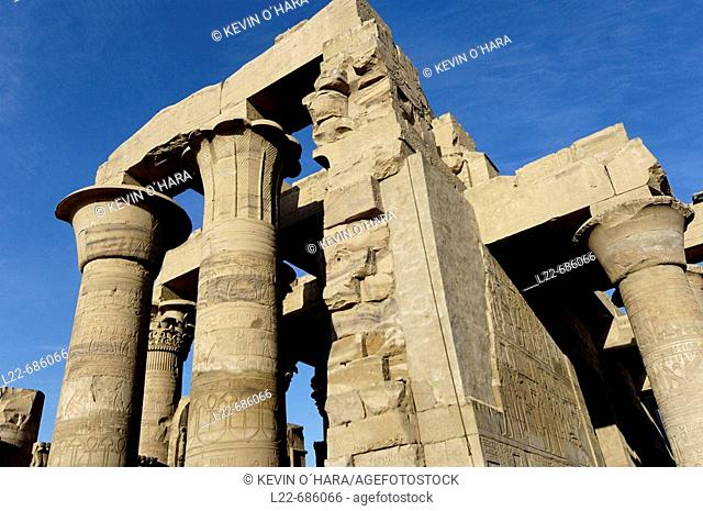 Temple of Kom Ombo, Egypt/ The Temple of Kom Ombo is an unusual double temple built during the rule Ptolemaic dynasty in the Egyptian town of Kom Ombo