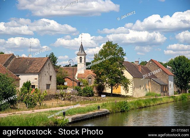 alongside Canal de Nivernais in Morvan in France