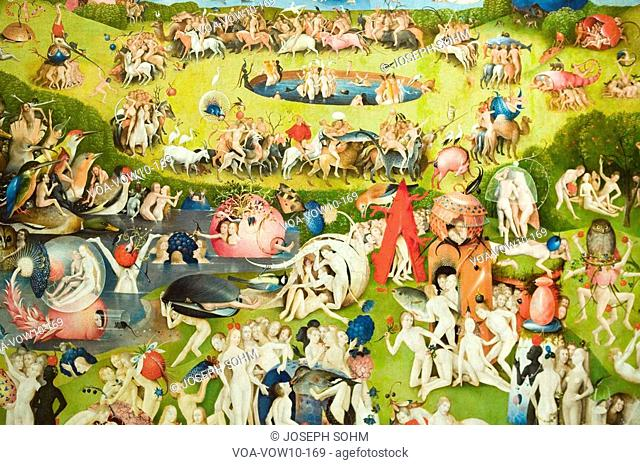 Painting by Hieronymus Bosch, The Garden of Earthly Delights, in the Museum de Prado, Prado Museum, Madrid, Spain