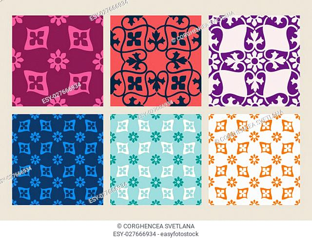 Colorful pastel set of seamless floral patterns vintage backgrounds collection vector